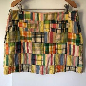 J.Crew madras plaid mini skirt sz 8